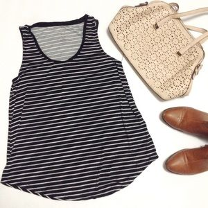 Tops - Black and white stripped tank